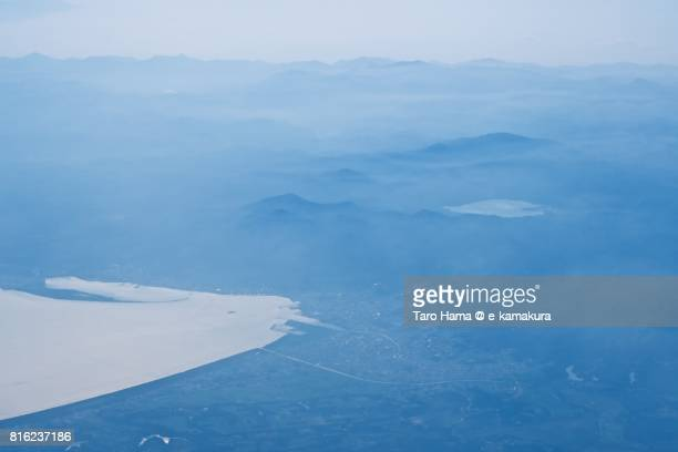 Mutsu city in Aomori prefecture daytime aerial view from airplane