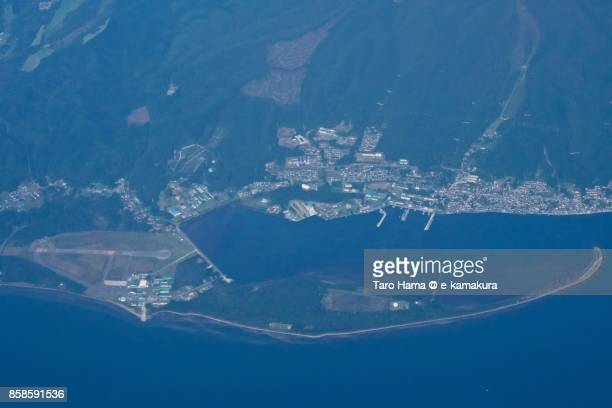 Mutsu city in Aomori prefecture in Japan daytime aerial view from airplane