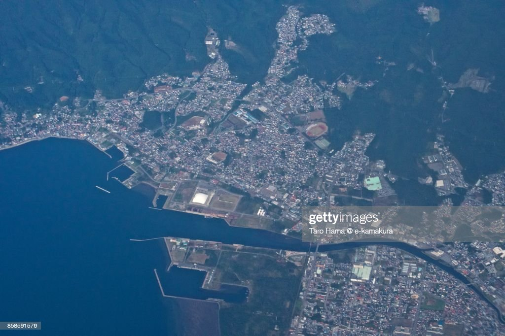 Mutsu city in Aomori prefecture in Japan daytime aerial view from airplane : Stock-Foto