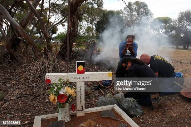 Mutthi Mutthi Elders burn Eucalyptus in preparation for the arrival of Mungo Man and ancestors at the Balranald Aboriginal Cemetery on November 16...