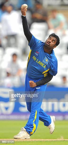 Muttiah Muralidaran of Sri Lanka bowls during the super 8 stage of the ICC world Twenty 20 cricket match against New Zealand at Trent Bridge...