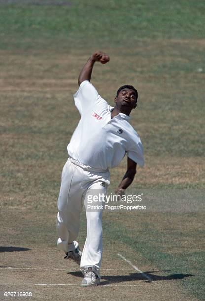 Muttiah Muralitharan bowling for Sri Lanka during the 2nd Test match between Sri Lanka and England at Asgiriya Stadium Kandy Sri Lanka 8th March 2001