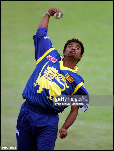 Muttiah Muralitharan bowling for Sri Lanka during the ICC World Cup in England, circa May 1999.