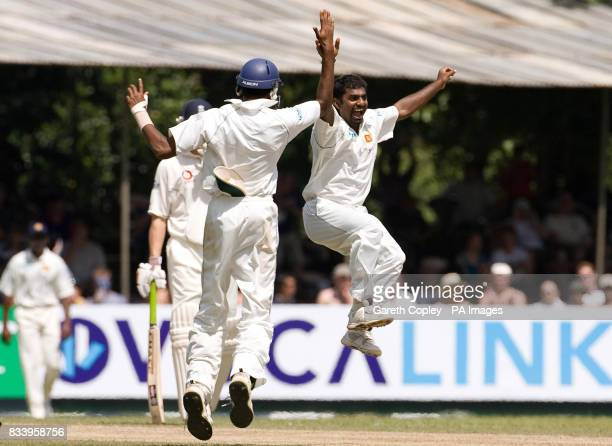 Muttiah Muralitharan celebrates dismissing England's Paul Collingwood to become Test cricket's leading wickettaker with 709 wickets during the first...