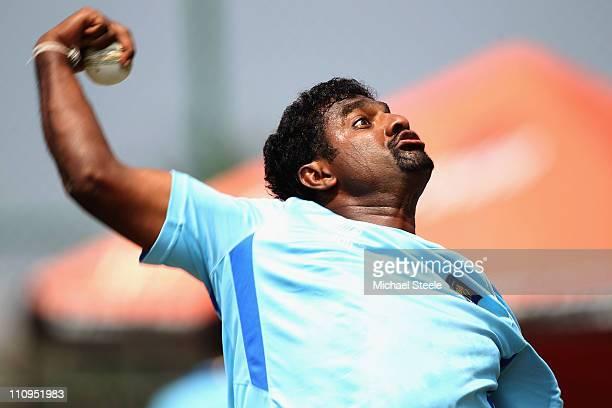 Muttiah Muralitharan during the Sri Lanka nets session at the R. Premadasa Stadium on March 28, 2011 in Colombo, Sri Lanka.