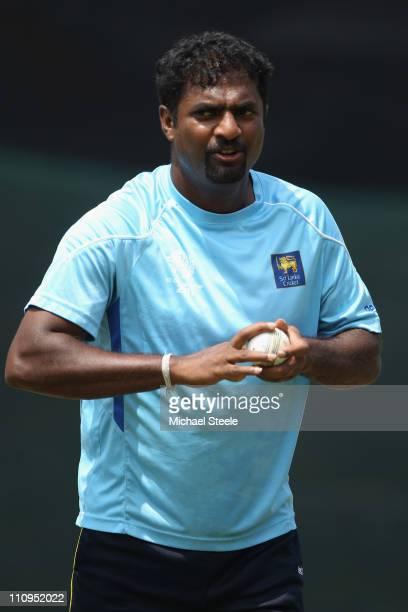 Muttiah Muralitharan during the Sri Lanka nets session at the R Premadasa Stadium on March 28 2011 in Colombo Sri Lanka