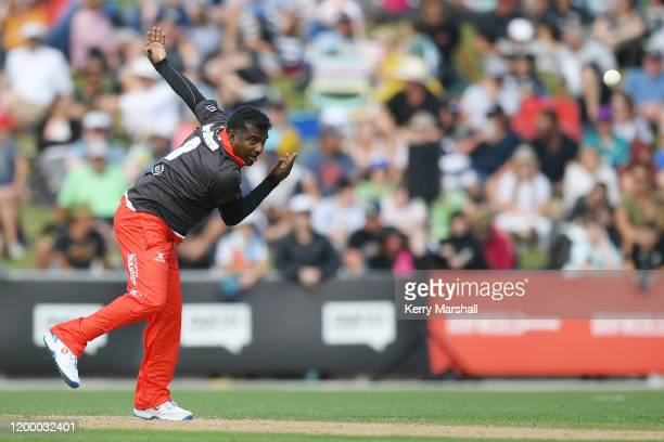 Muttiah Muralitharan from team rugby bowls during the T20 Black Clash at McLean Park on January 17, 2020 in Napier, New Zealand.