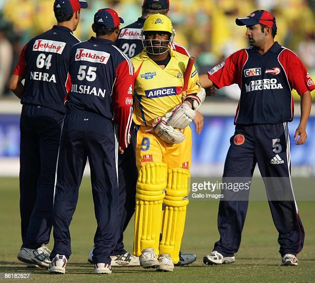 Muttiah Muralitharan looks dejected after the game during the IPL T20 match between Chennai Super Kings and Delhi Daredevils from Sahara Park on...