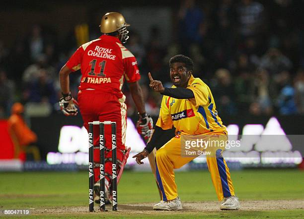 Muttiah Muralitharan of Chennai appeals for and gets the wicket of Kevin Pietersen of Bangalore during IPL T20 match between Chennai Super Kings and...
