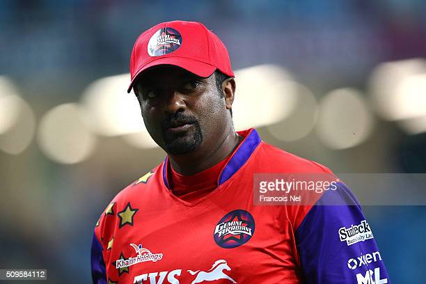 Muttiah Muralitharan of Gemini Arabians looks on during the Oxigen Masters Champions League Semi Final match between Gemini Arabians and Sagittarius...