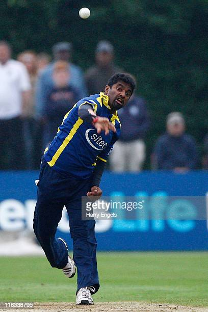 Muttiah Muralitharan of Glouestershire in action during the Friends Life T20 match between Kent and Gloucestershire at Beckenham on June 15 2011 in...