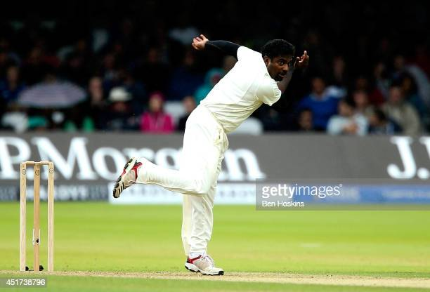 Muttiah Muralitharan of Rest of the World looks on during the MCC and Rest of the World match at Lord's Cricket Ground on July 5, 2014 in London,...