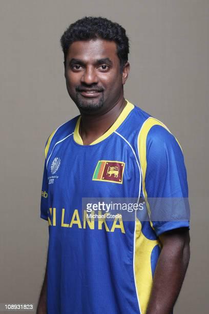 Muttiah Muralitharan of Sri Lanka ahead of the 2011 ICC World Cup at the Hilton Hotel on February 9 2011 in Colombo Sri Lanka