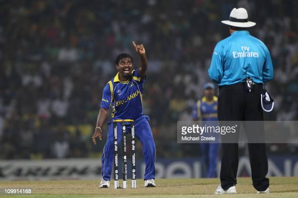 Muttiah Muralitharan of Sri Lanka appeals unsuccessfully to umpire Marais Erasmus during the Sri Lanka v Zimbabwe 2011 ICC World Cup Group A match at...