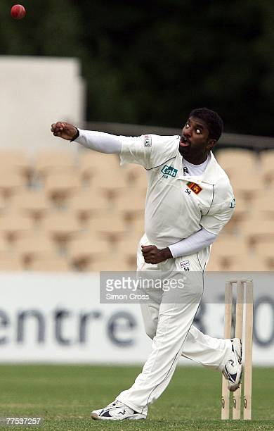 Muttiah Muralitharan of Sri Lanka bowls during day two of the match between the Chairman's XI and Sri Lanka held at Adelaide Oval October 28, 2007 in...