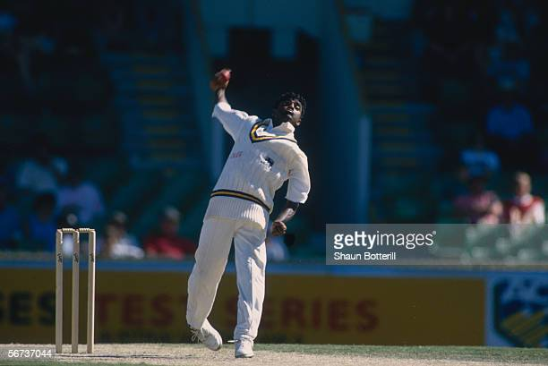 Muttiah Muralitharan of Sri Lanka bowls during the First Test match between Australia and Sri Lanka held on December 10 1995 at the WACA Ground in...