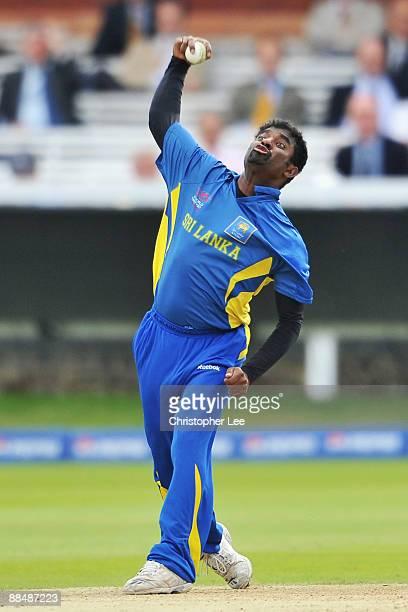 Muttiah Muralitharan of Sri Lanka bowls during the ICC World Twenty20 Super Eights match between Ireland and Sri Lanka at Lord's on June 14 2009 in...