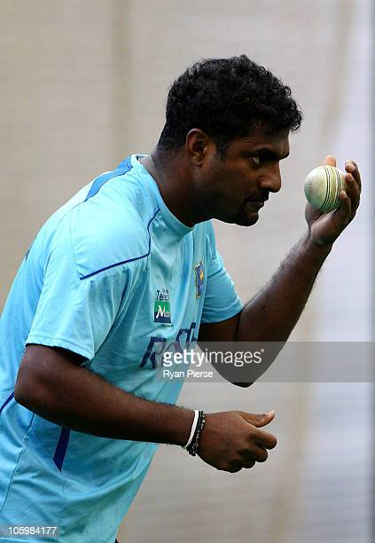 Muttiah Muralitharan of Sri Lanka bowls in the nets prior to the One Day Tour Match between the New South Wales Blues and Sri Lanka at the Sydney...