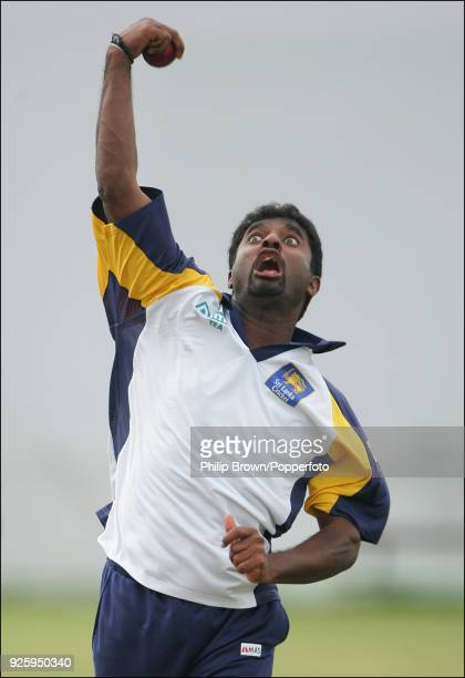 Muttiah Muralitharan of Sri Lanka warms up before day two of the 3rd Test match between Sri Lanka and England at Galle International Stadium Galle...