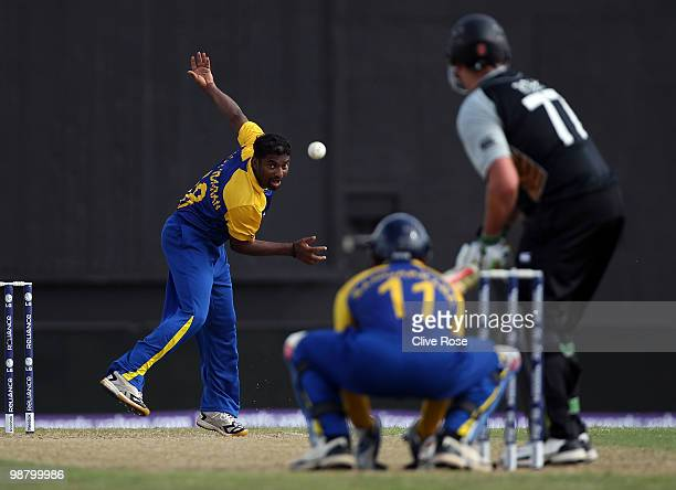 Muttiah Muralitharan of Sri Lanks bowls during The ICC T20 World Cup Group B match between Sri Lanka and New Zealand at the Guyana National Stadium...