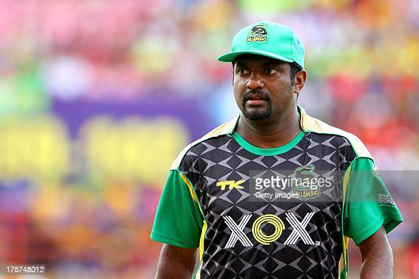 Muttiah Muralitharan of the Jamaica Tallawahs looks on during the Ninth Match of the Cricket Caribbean Premier League between Trinidad and Tobago Red...