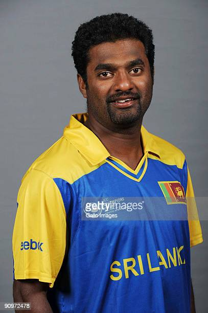 Muttiah Muralitharan poses during the ICC Champions photocall session of Sri Lanka at Sandton Sun on September 19, 2009 in Sandton, South Africa.