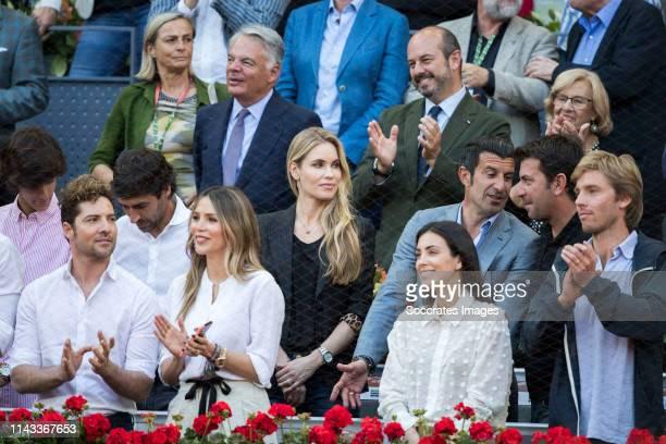 Mutua Madrid Open David Bisbal Raul Gonzalez Rossana Zanetti Helen Svedin Luis Figo Arturo Valls during the match between Mutua Madrid Open Masters v...