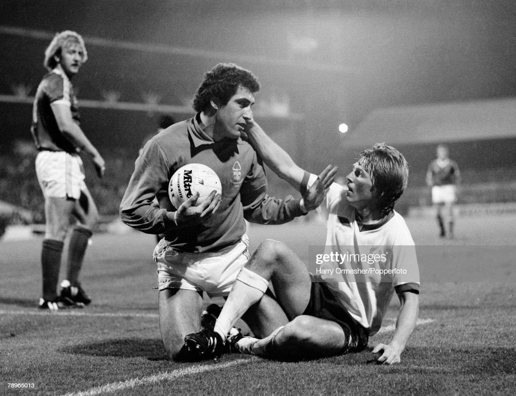 13th September 1978. City Ground, Nottingham. Nottingham Forest v Liverpool. Nottingham Forest+s goalkeeper Peter Shilton manages to come out on top in a goal-mouth challenge with Liverpool+s Kenny Dalglish. : News Photo