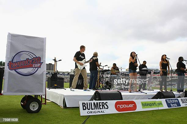 Mutya Buena formerly of the Sugababes sings in the interval during the Twenty20 Cup Final match between Gloucestershire Gladiators and Kent Spitfires...