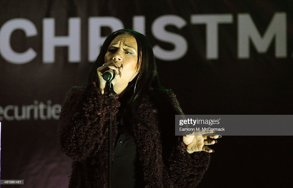 Mutya Buena of the Original Sugababes Mutya Keisha Siobhan (MKS) officially switched on Victoria's lights and launch the 90ft outdoor #CreateChristmas photography exhibition at Cardinal Place on November 21, 2013 in London, England.