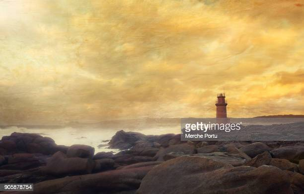 muxia lighthouse at sunset with texture - finistere stock photos and pictures