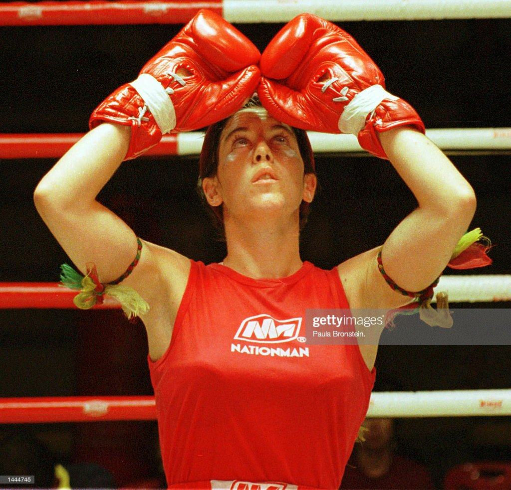 Muy Thai fighter Niamh does Ram Muay, a prefight ritual May, 2000 at Rangsit stadium in Bangkok, Thailand. Niamh is an Irish fighter that has come to Thailand to box and has become a woman to beat in the ring.