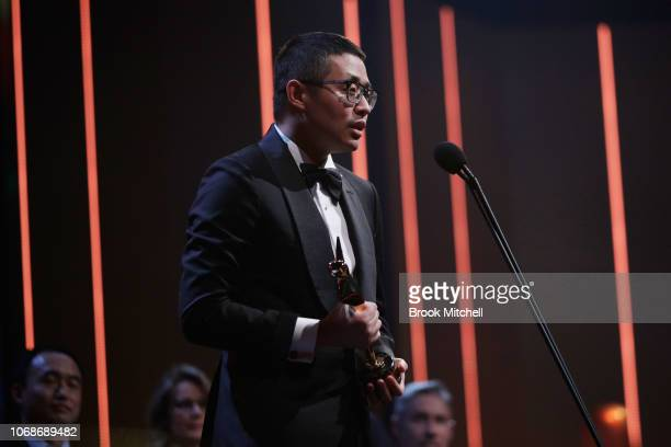 Muye Wen accepts the AACTA Award for Best Asian Film presented by Eureka International Group for Dying to Survive during the 2018 AACTA Awards...