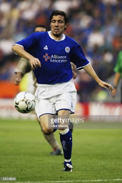 Muzzy Izzet of Leicester City charges forward during the PreSeason Friendly match between Leicester City and FC Barcelona held on August 8 2003 at...