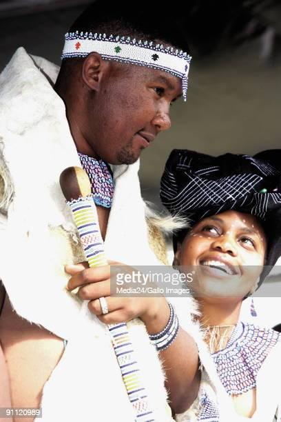 Mveso Eastern Cape Mandla Mandela grandson of Nelson Mandela is innuagurated as Head of the abaThembu tribe Chief mandela with his wife Nodayimani