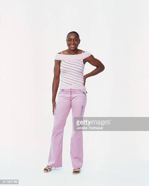 Mwadi Mabika of the Los Angeles Sparks poses for a WNBA Portrait at Westin Hotel on August 4 2004 in New York New York NOTE TO USER User expressly...