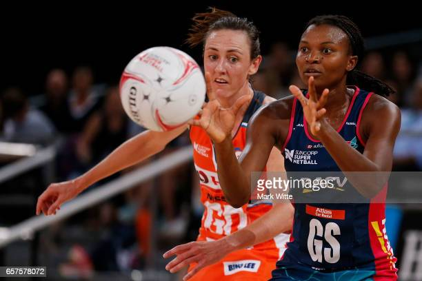 Mwai Kumwenda of Melbourne Vixens recieves the ball during the round six Super Netball match between the Vixens and the Giants at Hisense Arena on...