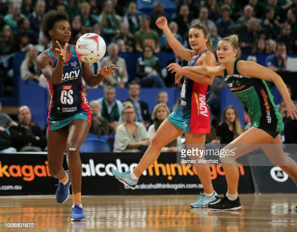Mwai Kumwenda of the Melbourne Vixens looks to pass back out of her forward circle during the round 13 Super Netball match between the Fever and the...