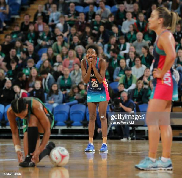 Mwai Kumwenda of the Melbourne Vixens yells at one of her players during a break in play during a timeout in the 2nd quarter during the round 13...
