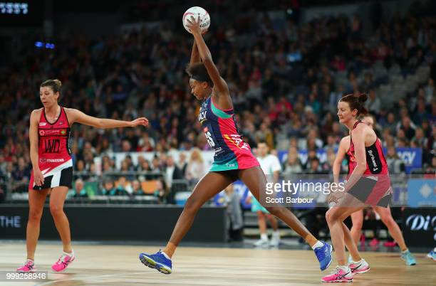 Mwai Kumwenda of the Vixens competes for the ball during the round 11 Super Netball match between the Vixens and the Thunderbirds at Hisense Arena on...