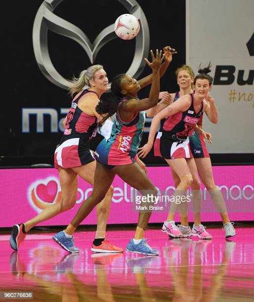 Mwai Kumwenda of the Vixens competes with Leana de Bruin of the Thunderbirds during the round four Super Netball match between the Thunderbirds and...