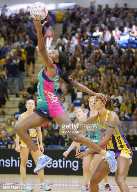 Mwai Kumwenda of the Vixens grabs the ball during the round six Super Netball match between the Lightning and the Vixens at University of the...