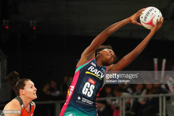 Mwai Kumwenda of the Vixens in action during the round 12 Super Netball match between the Vixens and the Giants at Hisense Arena on July 22 2018 in...