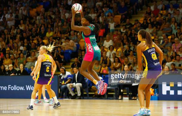 Mwai Kumwenda of the Vixens in action during the round two Super Netball match between the Queensland Firebirds and the Melbourne Vixens at...