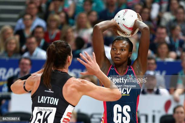 Mwai Kumwenda of the Vixens passes the ball during round one of the Super Netball match between the Vixens and Magpies at Hisense Arena on February...