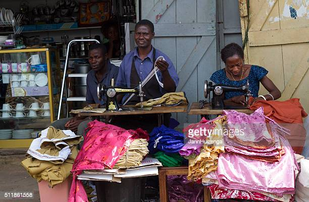 Mwanza, Tanzania: Garment Workers Sewing on the Sidewalk