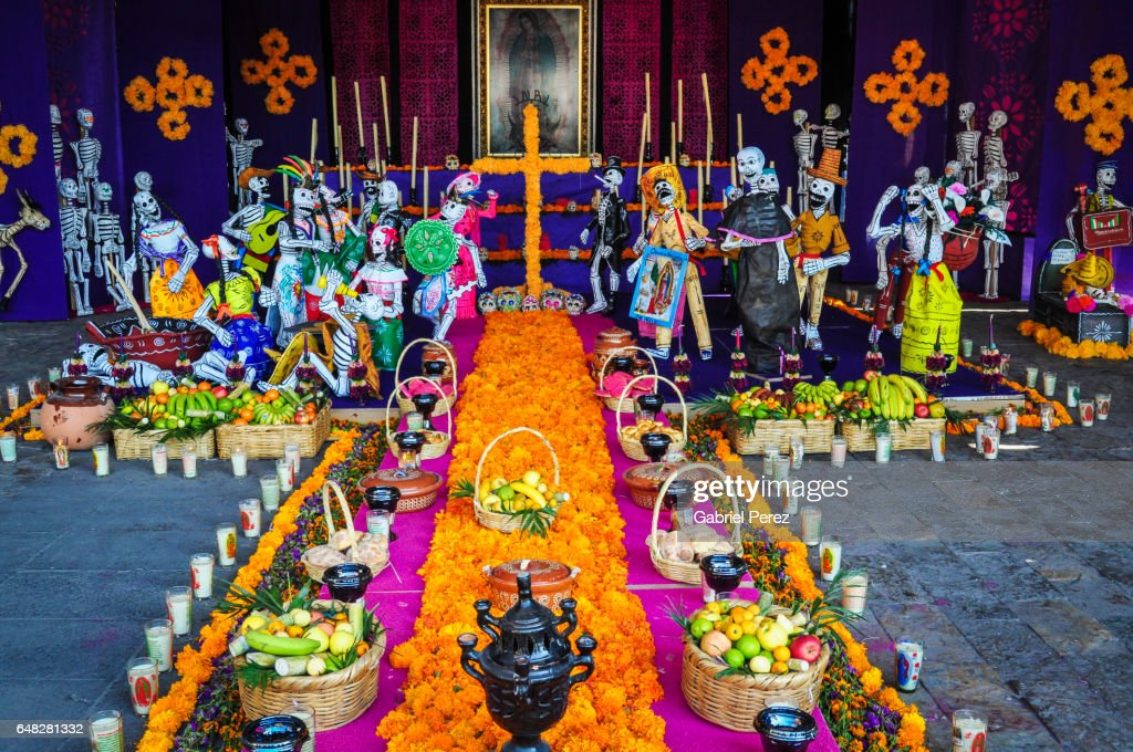 México City: A Day of the Dead Altar at the Basilica of the Virgin Guadalupe : Stock Photo
