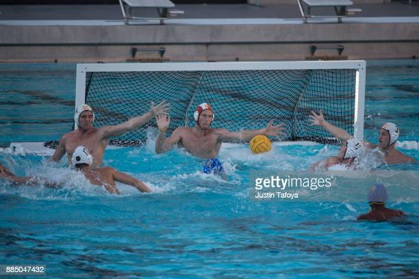 MxQuinn Baron of the University of Southern California attempts to save a shot during the Division I Men's Water Polo Championship held at the...
