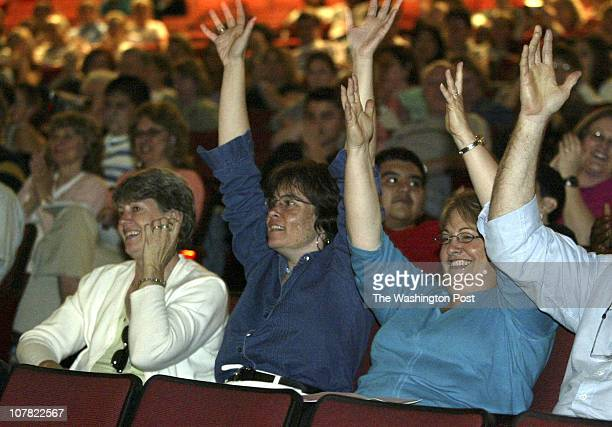 CREDIT Kevin Clark/The Washington Post Gaithersburg MD NEG # 180547 Sue Smith Cat Goldberg and Lisa Jacobs applaud during 'Music in Motion' The Night...