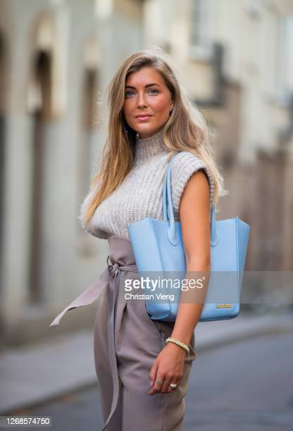 My Andrén seen wearing high waisted pants knit without sleeves blue bag during Stockholm Fashion Week Digital Edition 2020 on August 25 2020 in...